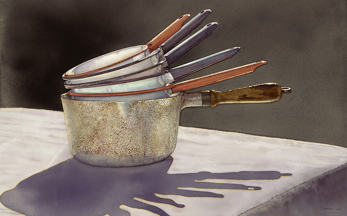 watercolor painting of pans