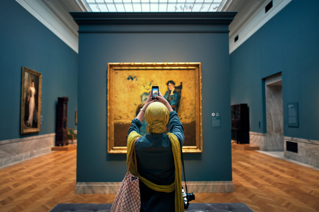 Photographer in a museum